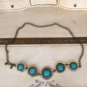 Chico's Turquoise Silver Chain Belt BOHO